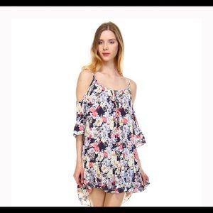 Dresses & Skirts - Tier layered cold shoulder Floral Dress